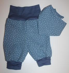 Schöne handmade Pumphose & Halstuch aus Musselin Stoff in Blau mit Punkten Größe 62-80