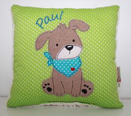 Namenskissen, Kuschelkissen Doodle Stickerei Hund mit Halstuch und Namen 30x30 cm