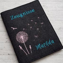 "Zeugnishülle "" Pusteblume "" mit Namen inkl. Sichtbuch A4 - Wollfilz"