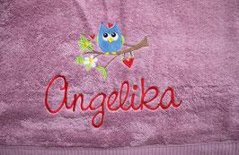 Handtuch mit Namen & Stickbild Eule auf Ast