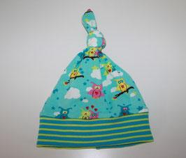 Zipfelmütze Jersey blau Eulen Kopfumfang 37 cm