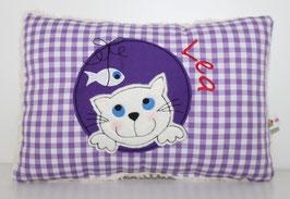 Kuschelkissen, Namenskissen Motiv Katze & Fisch 20x30 cm