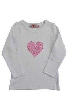Mädchen Langarm-Shirt Herz rosa Streublümchen