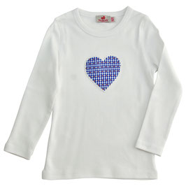 Mädchen Langarm-Shirt weiß Herz rot-blau Vichy