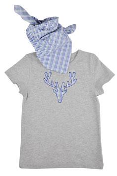 Jungs-Shirt grau Kurzarm - Hirschkopf blau Vichy