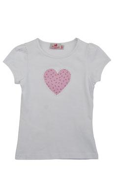 Mädchen Kurzarm-Shirt Herz rosa Streublümchen
