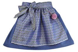 Mädchen Festtagsrock blau Loden mit Festtagsschürze Herzprint