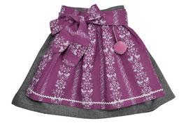 Mädchen Lodenrock grau mit rosa Schürze mit Vogelprint
