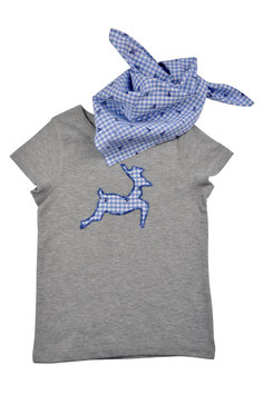 Jungs-Shirt grau Kurzarm - springender Hirsch blau Vichy Hirschprint