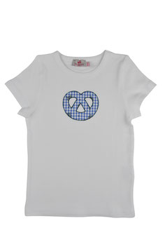 Jungs-Shirt weiß - Breze blau Vichy Hirschprint