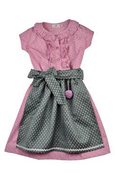 Mädchen Festtags Dirndlkleid  rosa Blümchen mit Festtagsschürze grün Glitzer Blümchen