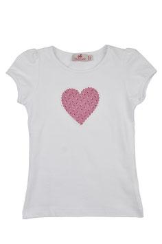 Mädchen Kurzarm-Shirt Herz rosa Blümchen