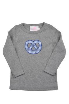 Jungs-Shirt grau Langarm - Breze blau Vichy Hirschprint