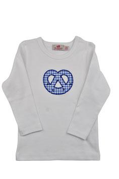 Jungs-Shirt weiß Langarm - Breze blau Vichy Hirschprint