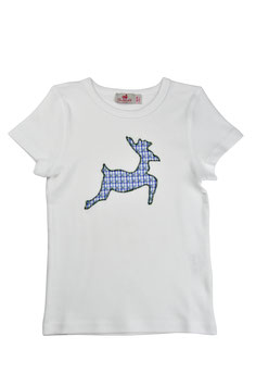 Jungs-Shirt weiß Kurzarm - springender Hirsch blau-grün Vichy