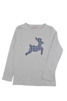 Jungs-Shirt weiß Langarm - springender Hirsch blau Vichy