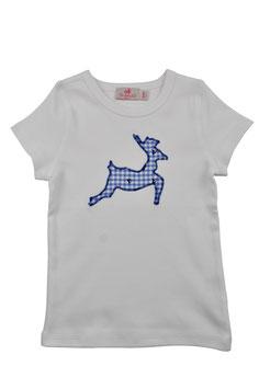 Jungs-Shirt weiß Kurzarm - springender Hirsch blau Vichy Hirschprint