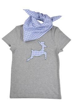 Jungs-Shirt grau Kurzarm - springender Hirsch blau-grün Vichy