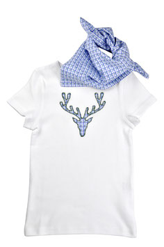 Jungs-Shirt weiß Kurzarm - Hirschkopf blau-grün Vichy