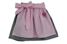 Mädchen Trachtenrock grau Loden mit  Schürze rosa Streublümchen