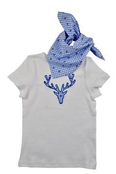Jungs-Shirt weiß Kurzarm - Hirschkopf blau Vichy Hirschprint