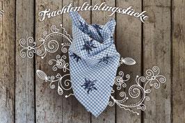 Trachtentuch Edelweiß Blau Vichy