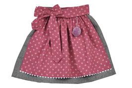 Mädchen Trachtenrock grau Loden mit  Schürze brombeer Streublümchen