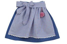 Mädchen Trachtenrock blau Loden mit  Schürze rot-blau Vichy