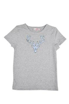 Jungs-Shirt grau - Hirschkopf blau Vichy Blümchen