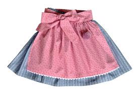 Mädchen Trachtenrock rauchblau mit Schürze rosa Blümchen