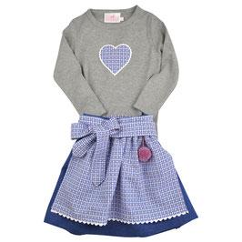 Mädchen Langarm-Shirt grau Herz rot-blau Vichy