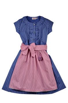 Mädchen Dirndlkleid blau Streifprint mit Schürze rosa Streublümchen