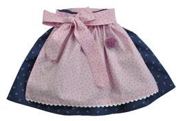 Mädchen Trachtenrock blau Blümchen mit Schürze rosa Streublümchen