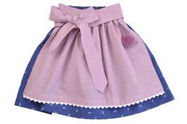 Mädchen Trachtenrock blau Blümchen mit puderrosa Vichy-Schürze
