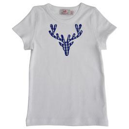Jungs-Shirt weiß - Hirschkopf blau Vichy