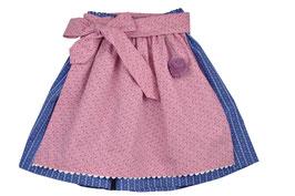 Mädchen Trachtenrock blau Streifenprint mit Schürze rosa Blümchen