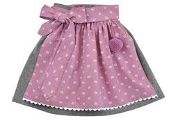 Mädchen Trachtenrock grau Loden mit  Schürze rosa Blümchen