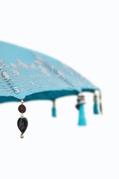 Luxe Boho Bali Parasol  ❤Zeeblauw half zilver
