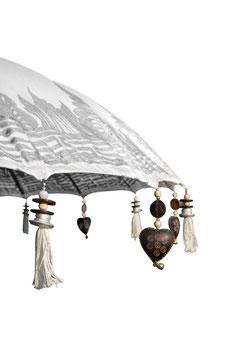 Luxe Boho Bali Parasol Half Zilver❤ Creme/Wit verkrijgbaar in 180cm of 250cm