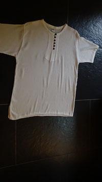 Herrenhemd Crinkle-Optik mit Knöpfen aus Kokosschale, Farbe weiss 100% Baumwolle / Grösse M/L