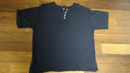 Herrenhemd Crinkle-Optik mit Knöpfen aus Kokosschale, Farbe schwarz 100% Baumwolle (verschiedene Grössen)