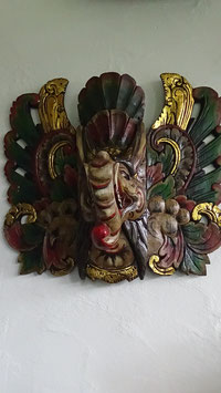 Ganesha Unikat / 3D-Relief Bild aus Albesia-Holz geschnitzt und kunstvoll bemahlt, auf antik gemacht