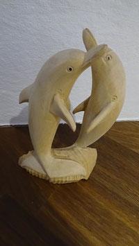 Delfine klein nature / aus Suar-Holz geschnitzt (B)