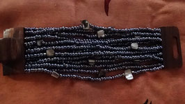Armband anthrazit mit Holzverschluss (2)