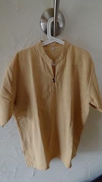 Herrenhemd mit Knöpfen aus Kokosschale, Farbe Cognac 100% Baumwolle (verschiedene Grössen)