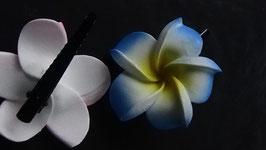 Haarspange Frangipani blau/gelb (7cm)