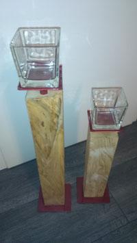 Modern 2 Stk. Rot met. inkl. Glas 10x10x10cm