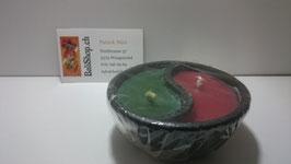 Kerze Yin Yang in Steinschale