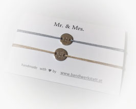 Armband Set Tag rund Mr. & Mrs. |  Sterling Silber