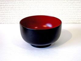 塗立の黒椀(内赤)